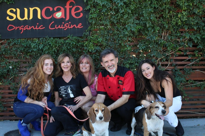 A fundraiser for long time friend Linda Blair and her WorldHeart Foundation dog rescue & also for Beagle Freedom Project. I'm Ron Russell on my right is Rebecca Smith, we're the founders of SunCafe
