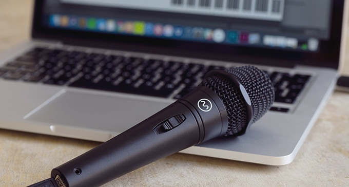 The Dubler USB Microphone - beveled edges means it lays securely on any flat surface