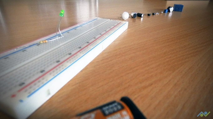 A simple LED circuit along with some of the components that you will learn about later