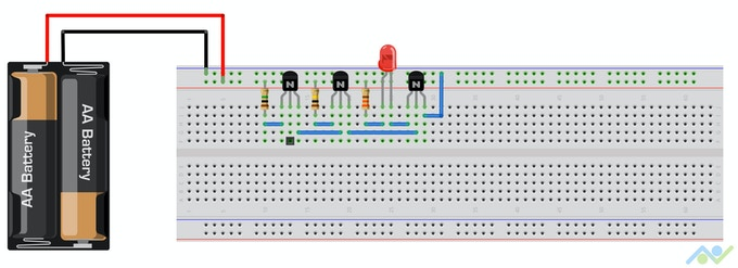 The booklet contains a breadboard view to simplify the layout