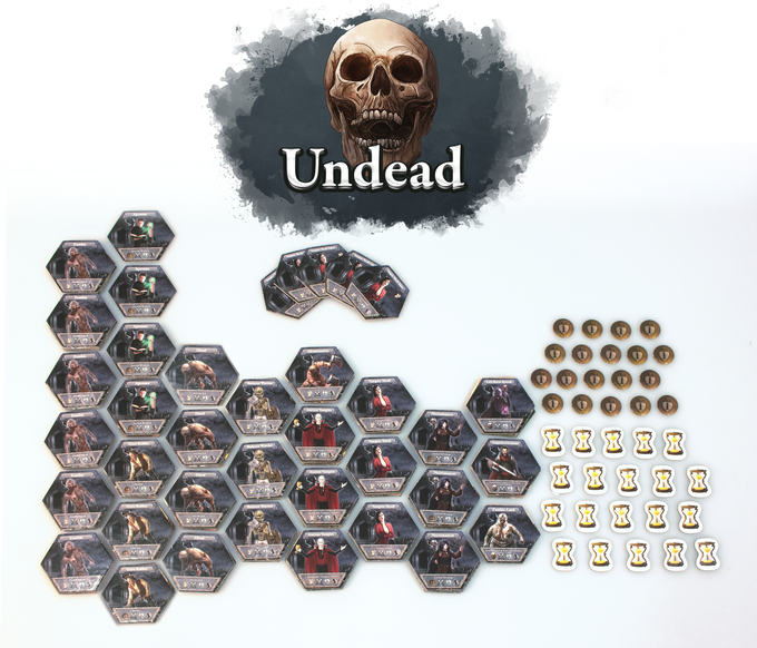 """At home in graveyards, bogs and crypts, the fearsome 'Undead' are the bane of all the civilized lands of Tarnaris. As their leader you can overrun the lands with a horde of rotting zombies or stun your foes with the abhorrent ghouls. Your vampires and thralls are numerous and grow with every bite they take. Better yet: Although your gravediggers will """"find"""" treasures within the graves of the fallen, you don't depend on that since a lot of your troops are summoned with patience instead of hired with coins."""