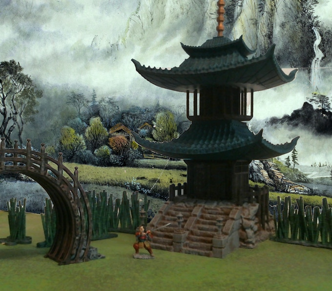 Scale of the Pagoda, Moon Bridge, and Bamboo Forest pieces (Reaper Miniatures samurai figure for scale comparison only).