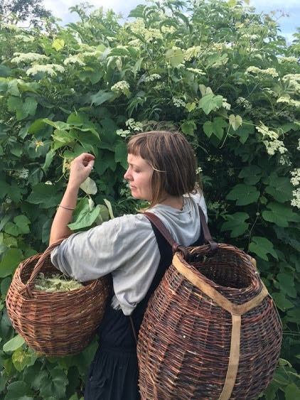 Large Pack Basket, gathering Elder flowers (and another gathering basket gifted to me years ago by a weaver friend Rosemary)