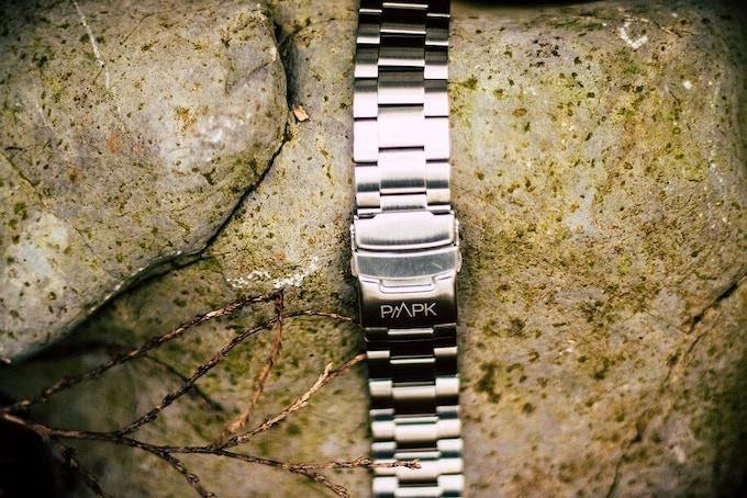 Triple rowed stainless steel bracelet.