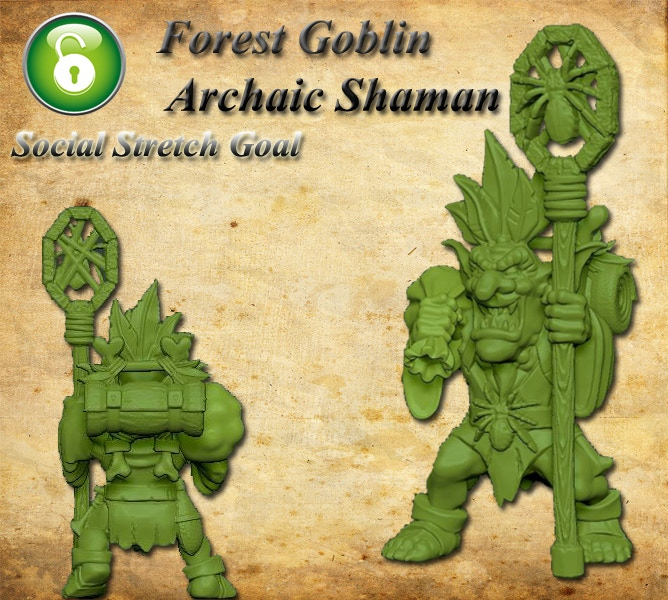 Archaic Forest Goblin Shaman (freebie miniature can be swapped for other miniature of similar value during the Pledge Manager)