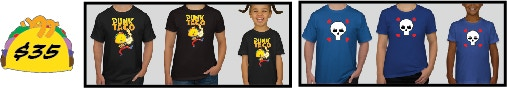 """Pledge $35 and choose one of the official PUNK TACO T-Shirt designs, the """"Classic"""" or """"Skull and Hearts"""" and show your support by wearing them with pride. The Classic comes in black or white and both designs have Women, Men and Children's styles. If you want more than one T-Shirt you can add on to your pledge."""