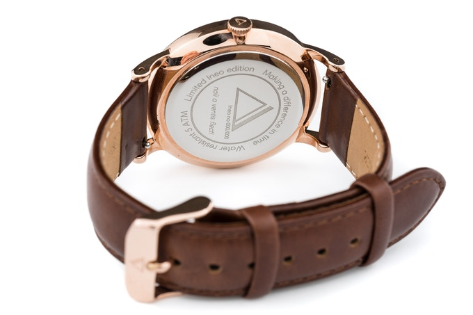 Ineo Conquest Vintage Rosé Gold, brown leather strap