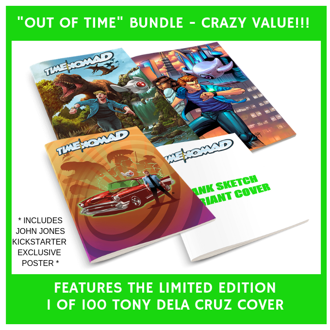 "Our $60 ""Out of Time"" Bundle features the stunning Limited Edition variant cover illustrated by Tony Dela Cruz.  This cover is ONLY thru Kickstarter and conventions.  Only 100 will ever be made!"