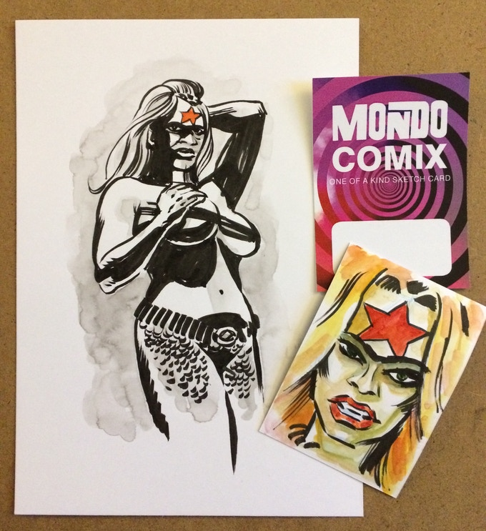 An example of the A5 sketch and sketch card front and back (brush pen and water colour on Bristol Board