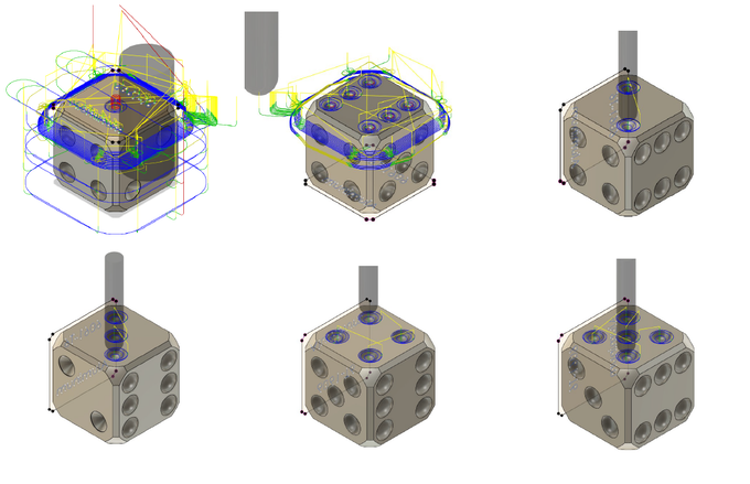The six CNC machining setups required to make the dice.