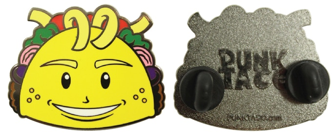 Every pledge of $65 or more comes with this beautiful Limited Edition, 8-color, Hard Enamel, embossed back, PUNK TACO Collector Pin!.  Or if you prefer you can order it separately for a $15 pledge. Wear this one with pride!