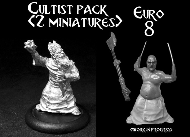 two Culltis miniatures with different heads and weapons