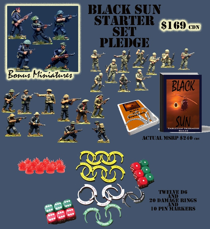 Black Sun Starter Set Pledge - This is a similar package to our Flint and Feather Starter Set if you are famalier with that product. All figures are supplied in 28mm unpainted white metal