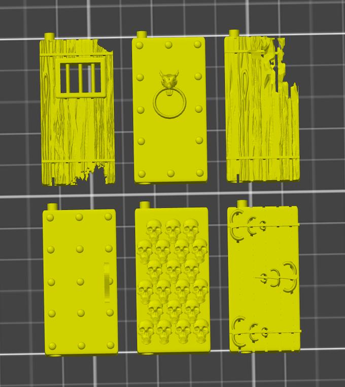 Complex Doors Prototypes - Ornate Wood door on bottom right