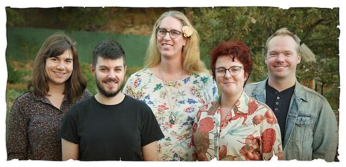 Left to right: Christine (Illustrator), Adam (Writer), Caitlin (Writer), Bo (Illustrator) & Chaz (Writer)