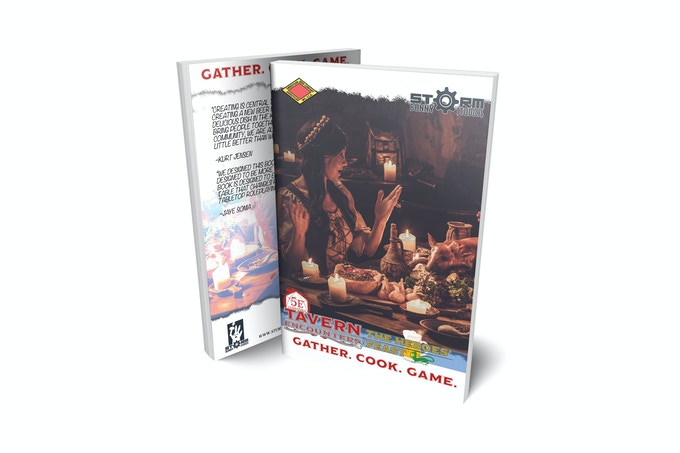 """Tavern Encounters: The Heroes' Feast is one part """"good host"""" guide, one part cook book, and one part tabletop roleplaying guide! The book is designed to use 5e mechanics to help groups build and practice food-focused traditions at the table; this book takes a step beyond just pairing great beers with wonderful foods. It also gives you story seeds and encounters with each recipe! We've built this book to serve as an essential resource for any gamer's kitchen."""