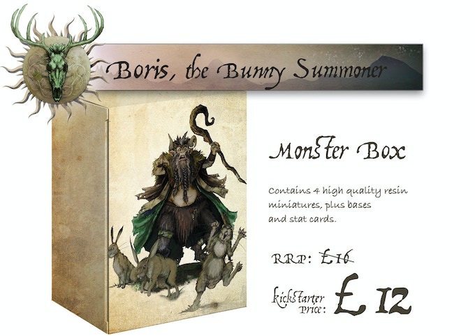 Boris, the Bunny Summoner Monster Box. Contains 1 standard size Miniature and 3 bunnies plus Stat Cards and Bases for all miniatures.