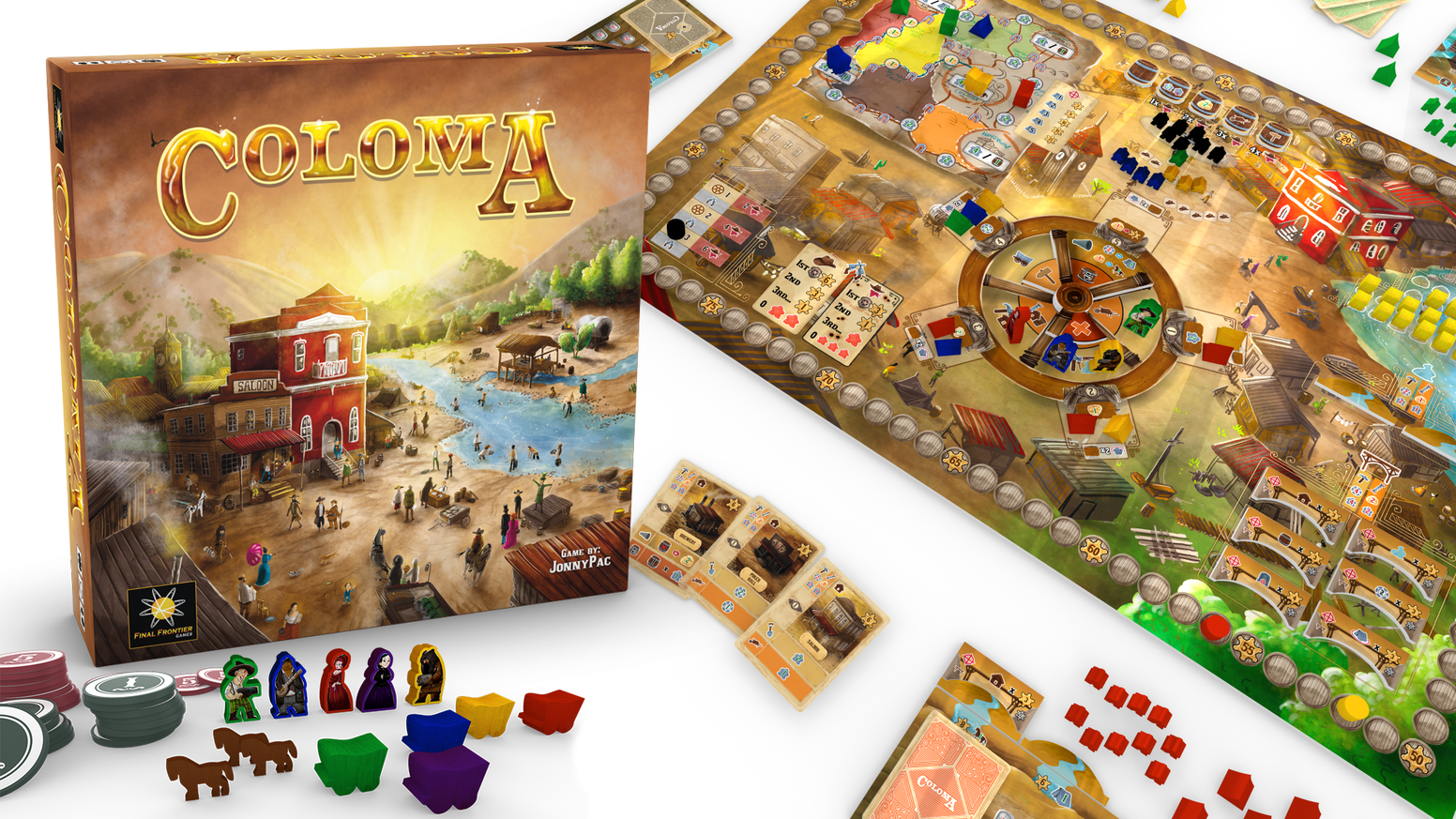 Travel out west, stake your claims, and defend the town in this strategic Eurogame for 1-6 pioneers.