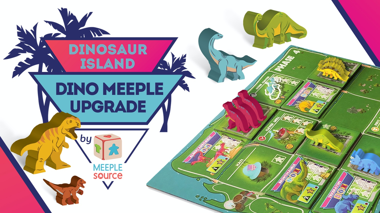 Beautiful painted dinosaur meeples for Dinosaur Island that match the art on the Dino Recipe Tiles! The ultimate Meeple Source upgrade!