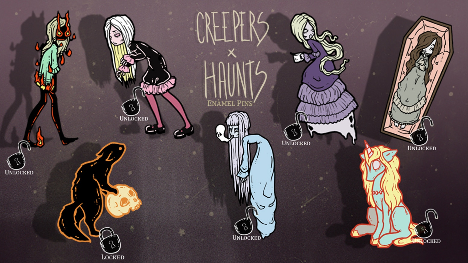 Creepy, Cute, Spooky, Enamel PINS!  Featuring vampires, ghosts, cats, coffee and more by Gothic and Lowbrow fantasy artist, White Stag.