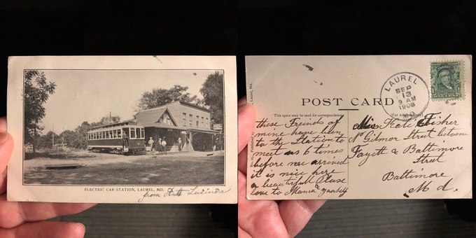 Original Electric Car Station postcard, mailed in 1908. The trolley station still stands at Main & Sixth Streets as part of Oliver's Old Towne Tavern! For a $125 pledge, you'll receive this postcard plus a signed copy of the book.