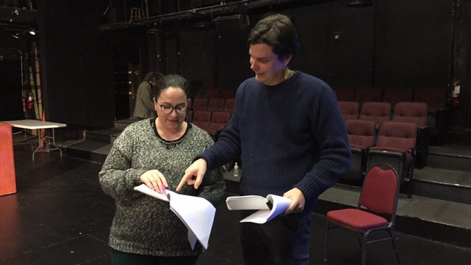 Director Josh McIlvain working with Hallie Martenson, who plays the Director in PURE MEDEA. Photo by Kristin Curley.