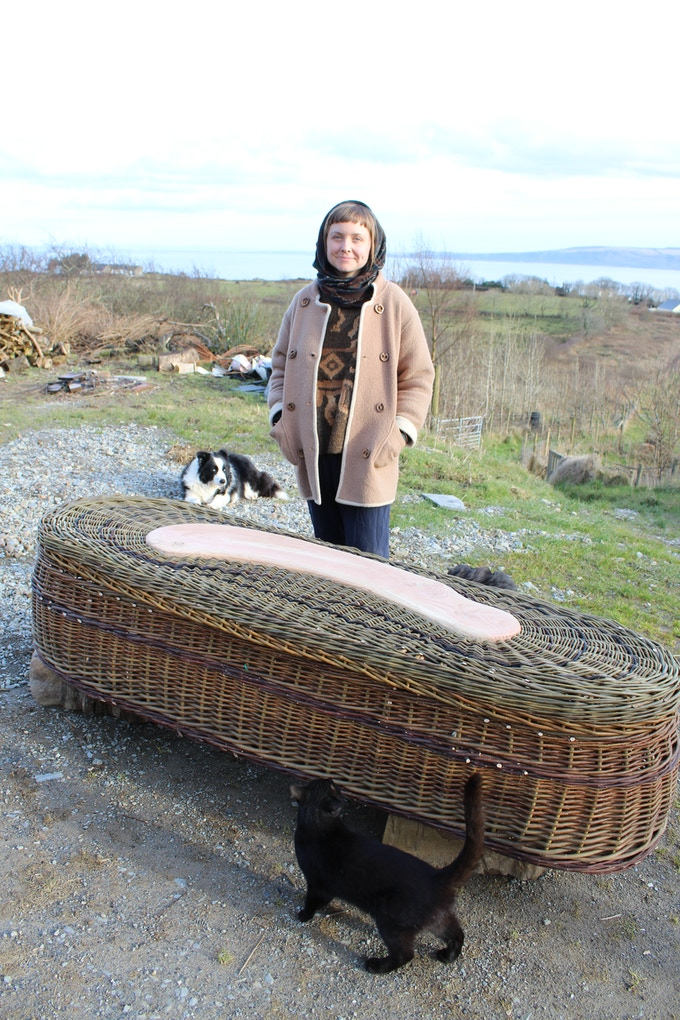 Woven coffin, yet to receive the roped handles, on the coast of Donegal, Ireland