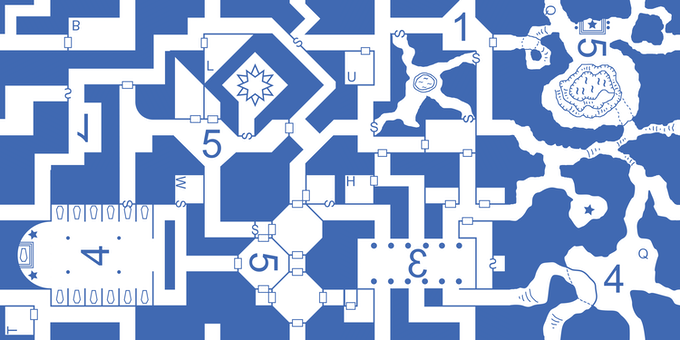 """Several (4x2) of the original 2.5""""x2.5"""" dungeon & cavern cards placed adjacent to eachother."""