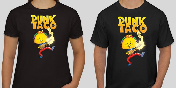 """The """"Classic"""" PUNK TACO  T-Shirt comes in Women's, Men's and Children's styles and is available in black or white and in any size. Pledge $35 to get yours and wear it with pride."""