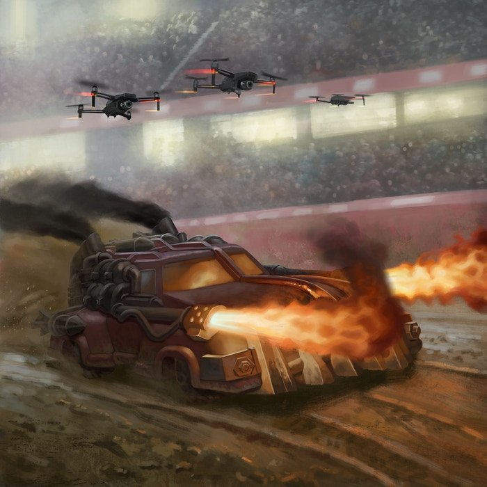 The Dragon, one of the new Car Wars miniatures designs, in an arena battle as camera drones broadcast video of the event to the millions of viewers at home.