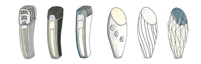 George's original idea sketches for the Dubler Microphone from 2015. Originally, it was designed so that the software and hardware were embodied in one handheld device.