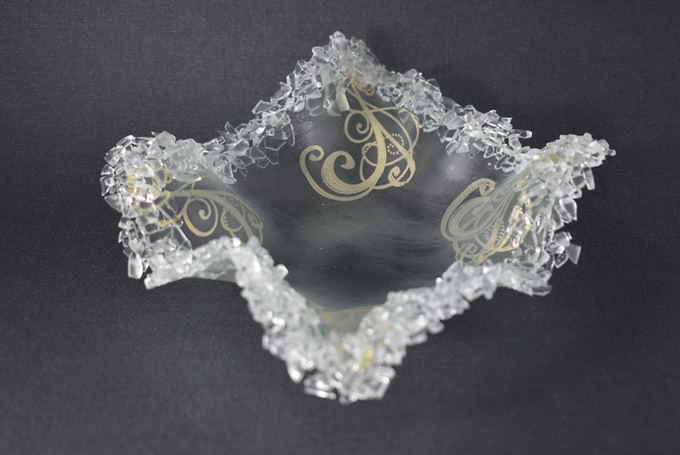Glass Candy Dish, antique window glass with gold mica