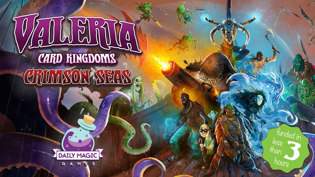 Sail to lands beyond the borders of Valeria in Crimson Seas, the third full expansion to Valeria: Card Kingdoms.