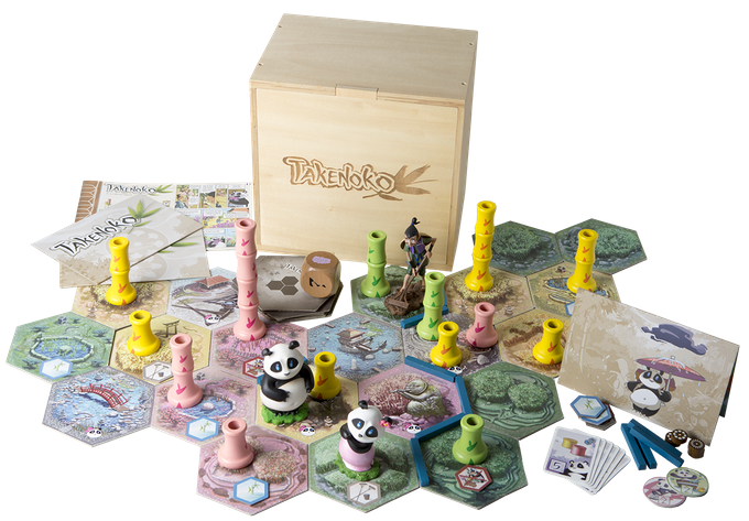 In Takenoko, the players will cultivate land plots, irrigate them, and grow one of the three species of bamboo (Green, Yellow, and Pink) with the help of the Imperial gardener to maintain this bamboo garden. They will have to bear with the immoderate hunger of this sacred animal for the juicy and tender bamboo. The player who manages his land plots best, growing the most bamboo while feeding the delicate appetite of the panda, will win the game.