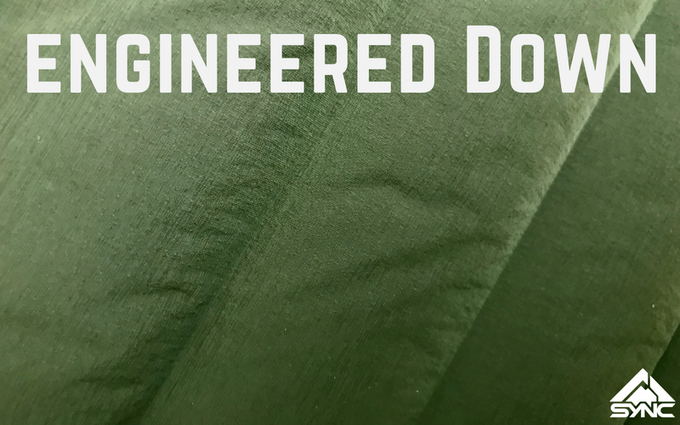Close up of the stitch free welded baffle technology in a prototype jacket (Color: Men's Khombu Green)