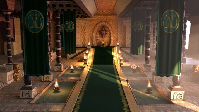 Still shot of Malika's throne room for the animation