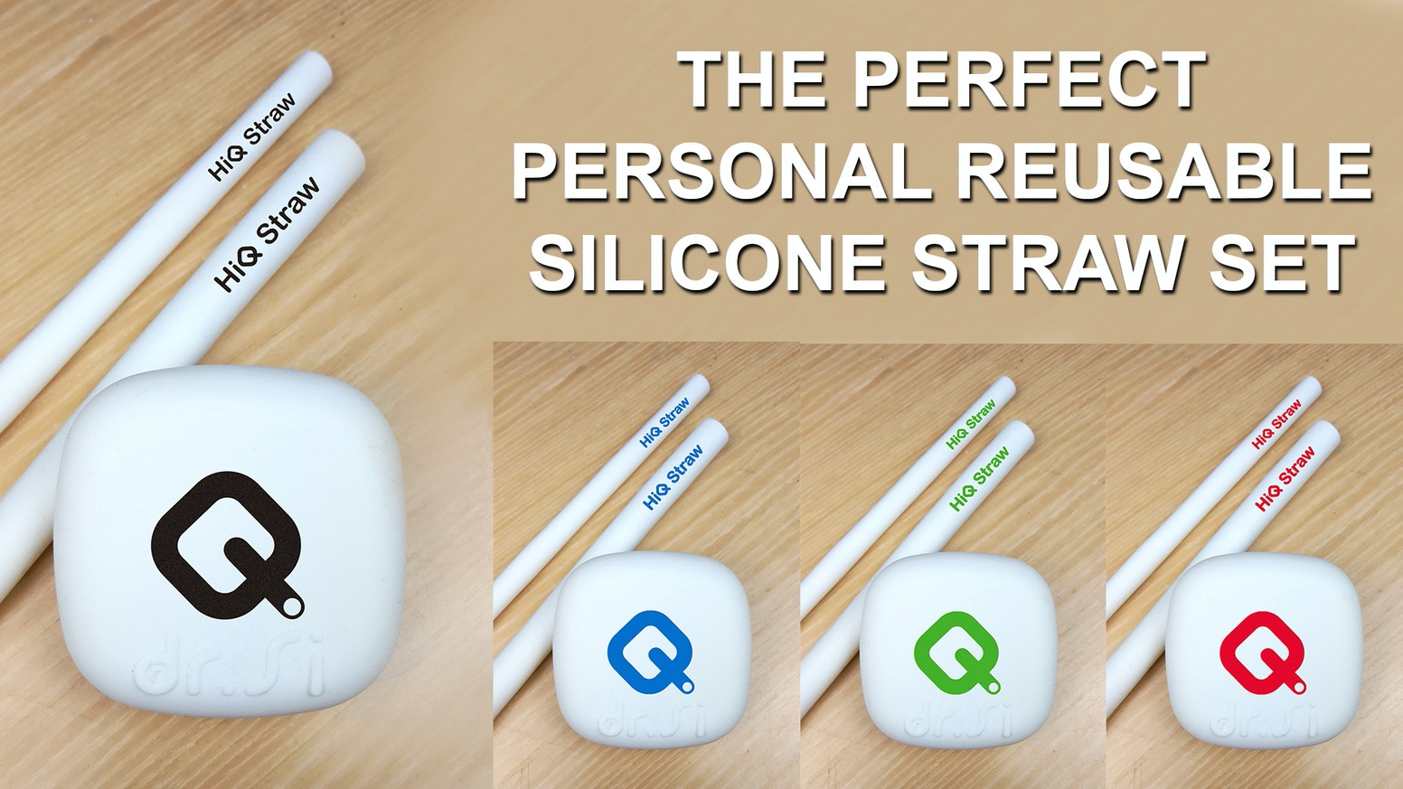 HiQ Straw: Zero Plastic 100% Eco-Friendly Silicone Straw Set
