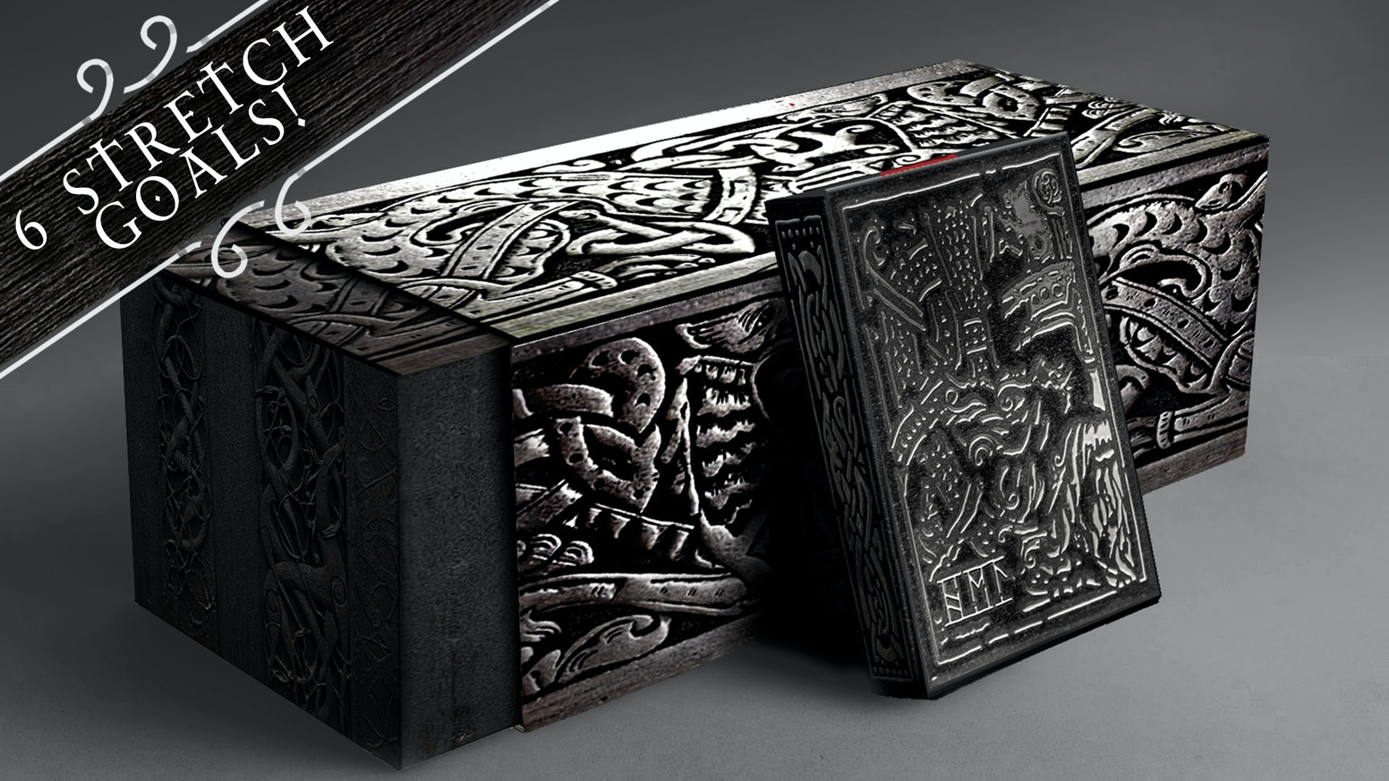 Norse war-oriented playing cards designed in Denmark. Representing Helheim and manufactured with deluxe features in two editions.