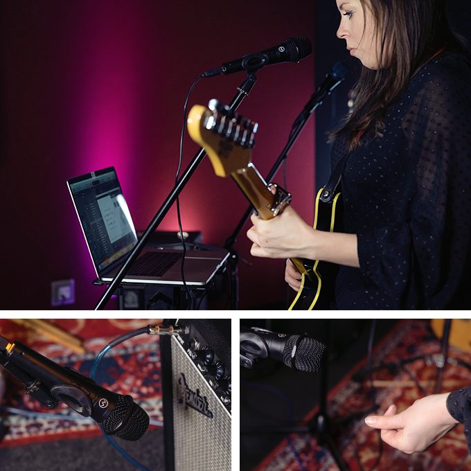 Luna Neptune- [Left to right] 1. Triggering synths with her voice, whilst playing guitar. 2. Micing up guitar and using it's output as a MIDI trigger. 3. Using clicking as a trigger.