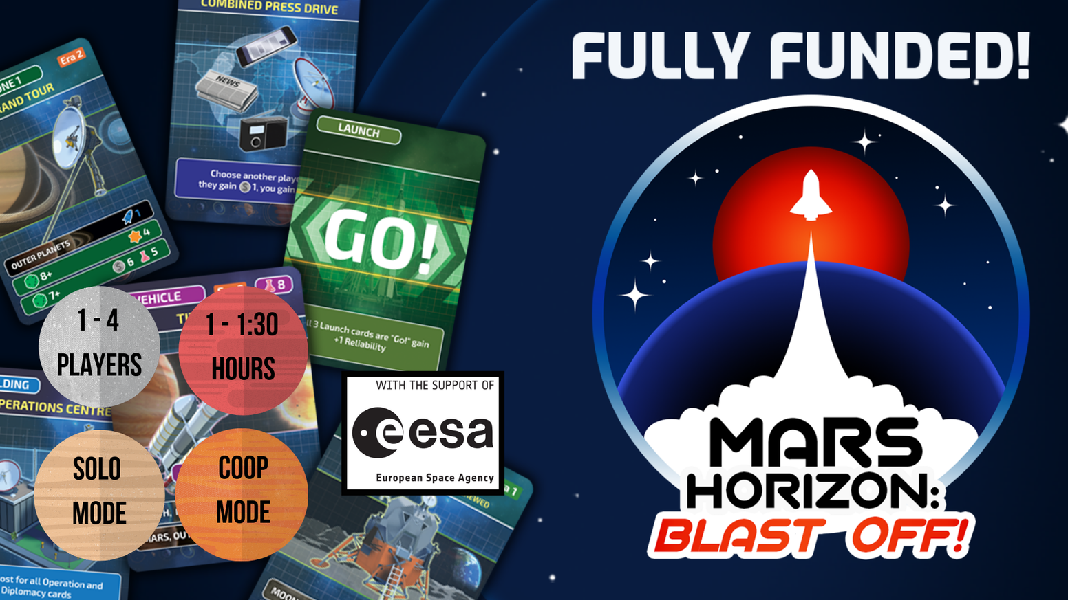 An authentic, tactical yet fun card game about leading a space agency from its first rocket launch through to the first mission to Mars