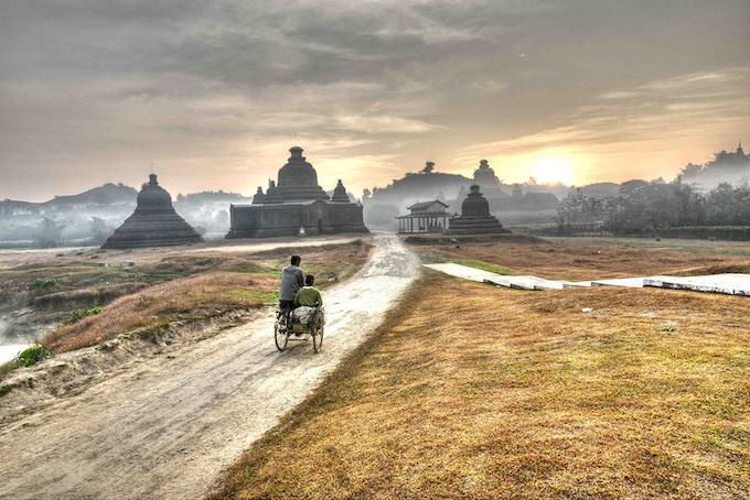 Mrauk U - Sunrise at Ancient Temples (HDR photo)