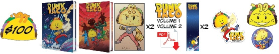 Pledge $100 or more and get autographed copies of PUNK TACO Volume1 and 2 with ORIGINAL Color Drawings of PUNK TACO in each, personalized to you or a loved one! You will also get both digital downloads, two bookmarks, sticker, button, limited edition enamel pin and magnet #1 (same design as Sticker #1). *Art shown is just an example. Each piece will be unique.