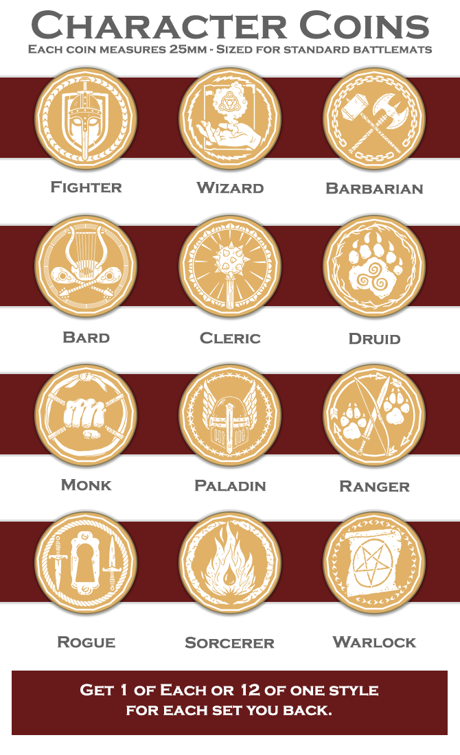 Character Coins: RPG Token Sets by Dice Dungeons by Dice