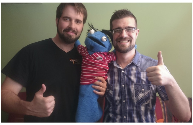 "From left to right: Marco Martínez (CEO), ""Pacheco"" from YT channel and Rafa Navarro (main co-developer)"