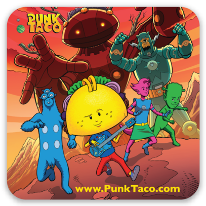 PUNK TACO Sticker Design #2 will come free with all pledges of $25 or more when we reach our stretch goal of $5,500.