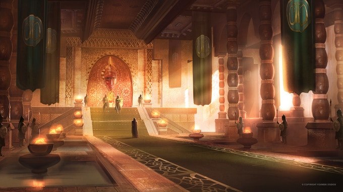 Concept art of Malika's throne room for the animation