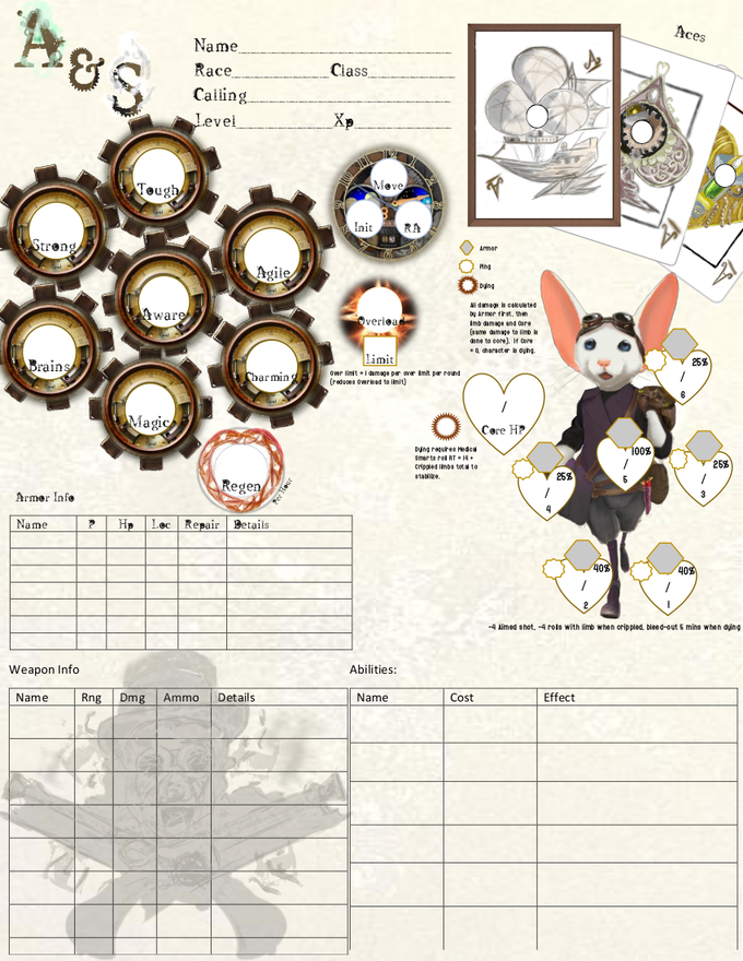 The basic front sheet to A&S, showing some familiar information and some new details surrounding the game.