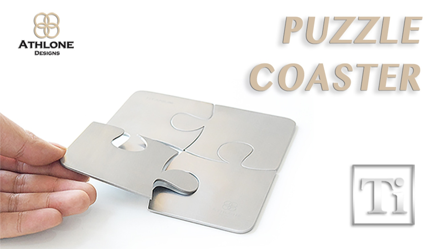 Titanium Puzzle Set: Coaster + Bottle opener by Athlone