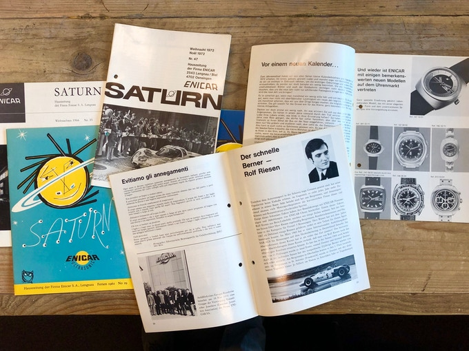 Saturn, the corporate magazine of Enicar, issued between 1954 and 1972.