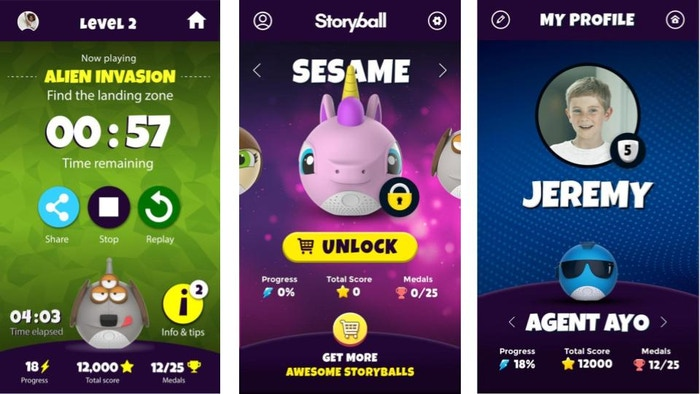 Storyball app screens